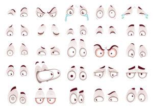 Cartoon eyes. Comic eye staring gaze watch, funny face parts vector isolated illustration set