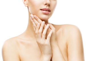 Skin Care Beauty, Attractive Woman Face and Hands Skincare, Healthy Clean Body Skin, Isolated over White Background