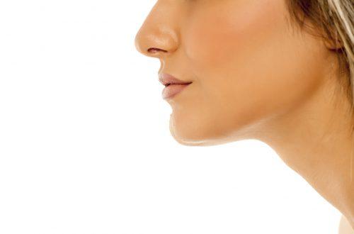 side profile woman chin